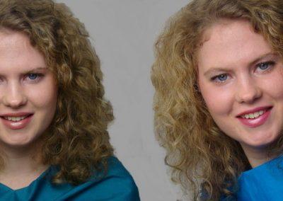 Anne met een dynamische en gezonde uitstraling in de koele heldere kleuren